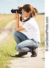 写真, 女の子, カメラ, 取得