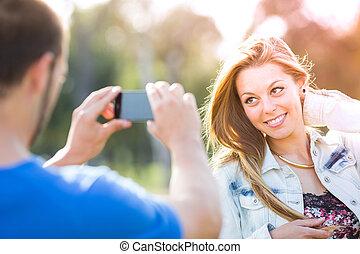写真, 恋人, 届く