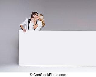 写真, 恋人, 若い, 接吻