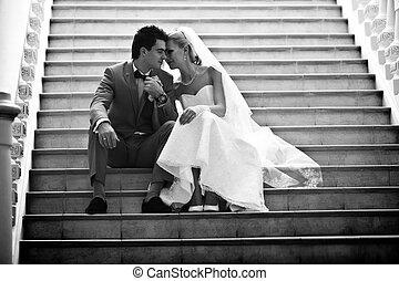 写真, 恋人, 黒, 白い結婚式