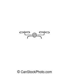 写真, 手, ベクトル, 引かれる, ロゴ, icon., 無人機, カメラ, element.