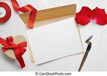 写真, 挨拶, あなたの, mockup, 上, 背景, 白い赤, 平ら, 封筒, テキスト, 位置, 手紙, クラフト, 日, カード, 箱, リボン, 贈り物, 木製である, バレンタイン, の上, 場所, mock, 光景