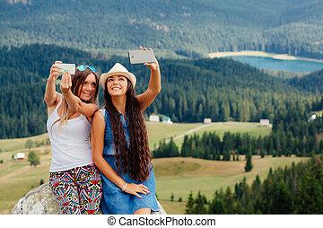 写真, 旅行, 女の子, 若い, 取得, selfie