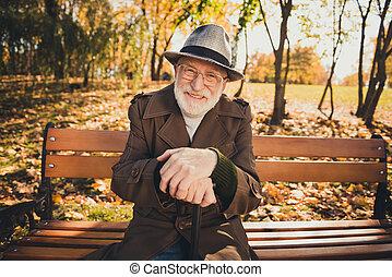 写真, 残り, 歩くこと, 日没, リラックスしなさい, ポジティブ, autumn., 秋, ウエア, 森林, スティック, 帽子, こんにちは, 古い 町, 自然, headwear, 人, カラフルである, 座りなさい, ベンチ, 公園
