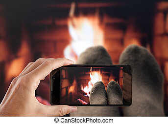 写真, 毛織りである, ソックス, 手, フィート, 作成, fireplace.