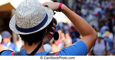 写真, 男の子, 歩くこと, 帽子, 観光客