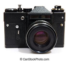 写真, 白, カメラ, 隔離された, 背景