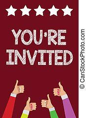 写真, 親指, 私達の, invited., ゲスト, バックグラウンド。, 紫色, どうか, 執筆, レ, 星, テキスト, 概念, あなた, 祝福, ありなさい, 男性, ビジネス, 提示, 歓迎, 手, 5, 手, 承認, 女性, 参加しなさい, の上, 私達