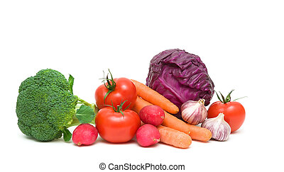 写真, 野菜, -, の上, 背景, 終わり, 白, 横
