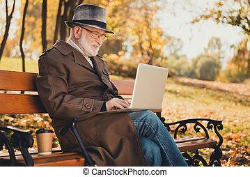 写真, 電子メール, ポジティブ, タイプ, コート, 観光事業, 家族, オンラインで, 秋, ウエア, 帽子, 帽子, ラップトップ, コミュニケーション, 古い, 群葉, 持ちなさい, 自然, プロフィール, 中心, 側, 木, 都市, 人, 座りなさい, ベンチ, 公園