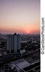 写真, 高い 角度, 風景, 光景, 航空写真, 日没, 都市