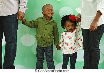 写真, 黒, クリスマス, family's