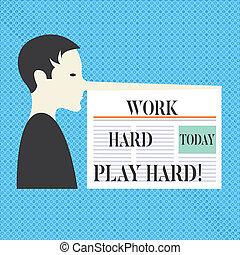 写真, attached., プレーしなさい, あなたの, hard., pinocchio, 作りなさい, 長い間, 執筆, テキスト, 概念, 生活, 懸命に, ビジネス, 提示, ∥間に∥, レジャー, 手, 仕事, 人, のように, 仕事, 鼻, 新聞, バランス