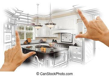 写真, combinatio, 注文製のデザイン, 枠組み, 手, 図画, 台所