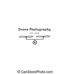 写真, drone., 手, ベクトル, 引かれる, ロゴ, カメラ, template.