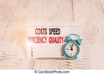 写真, inputs, 概念, 効率, ビジネス, オペレーション, 効率的である, balance., outputs, スピード, 執筆, quality., テキスト, 手, 提示, コスト