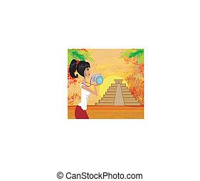 写真, mayan, ピラミッド, 観光客