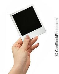 写真, polaroid, 隔離された, 手