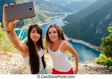 写真, selfie, 女の子, 取得, 若い