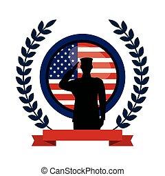 军方, 旗, 侧面影象, 象征, 人