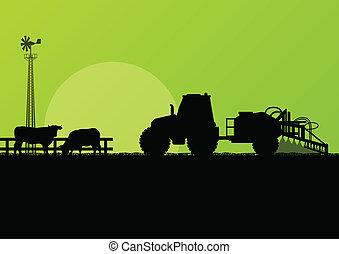 农业, 拖拉机, 同时,, 肉牛, 在中, 培养, 国家, 领域, 风景, 背景, 描述, 矢量