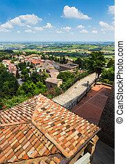 农业, toscana, 老, 风景, 村庄