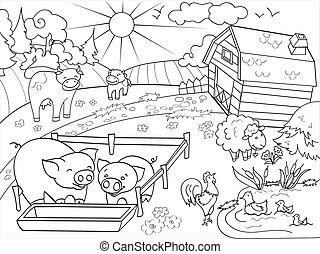 农场动物, 同时,, 乡村的地形, 着色, 矢量, 为, 成年人