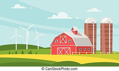 农场建筑物, 乡村, -, 谷仓