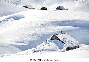 农场房子, 埋葬, 在下面, 雪, melchsee-frutt, 瑞士