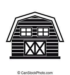 农场, 黑色, 房子, 风格, 背景, 隔离, 白色, 简单