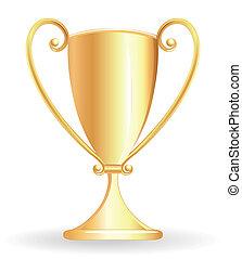 冠軍, 杯子, -, 酒杯, 黃金