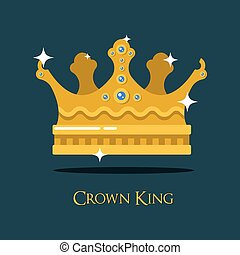 冠, 或者, 國王, 王后, 黃金, crown.