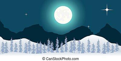 冬の景色, デザイン, 夜