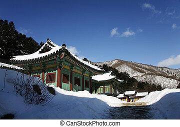 冬の景色, sangwonsa, 韓国, 南, 寺院