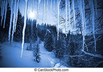 冬の氷, によって, つらら, 風景, 光景