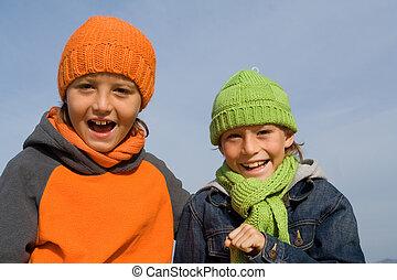 冬の 帽子, 微笑, スカーフ, 子供, 幸せ