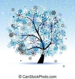 冬の 木, snowflakes., クリスマス, holiday.