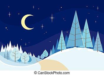 冬ツリー, 雪, クリスマス, 風景, 森林, 松, 背景, 森