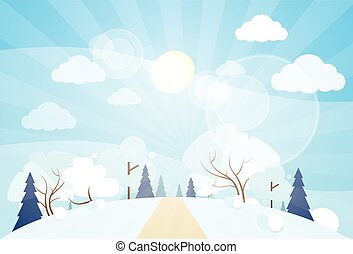 冬ツリー, 雪, 松, 森, 森林, クリスマス, 風景