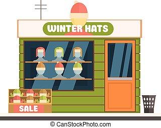冬天帽子, 商店前面, 矢量, 插圖
