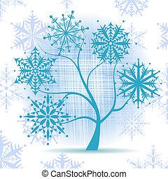 冬天樹, snowflakes., 聖誕節, holiday.