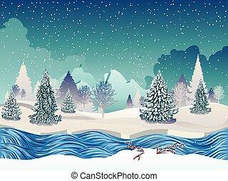 冬天河, 場景