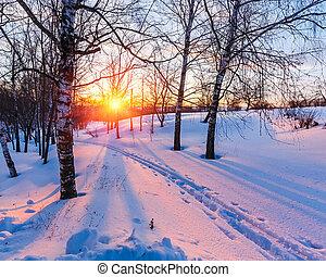 冬天, 傍晚