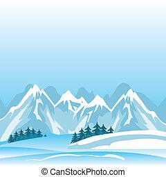 冬天, 在, 山