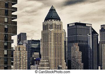 冬天, 城市, 摩天樓, 紐約