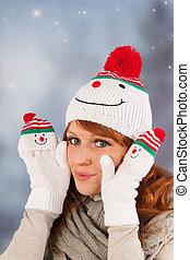 冬天, 婦女, 由于, 雪人帽子