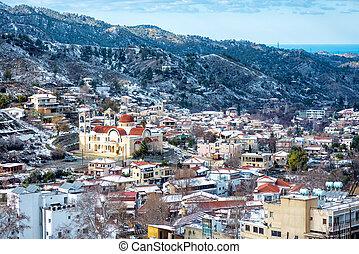 冬天, 山地村庄, 風景。, kakopetria, nicosia, 地區, 塞浦路斯
