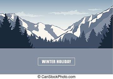冬天, 山, 多雪, 假期, 風景