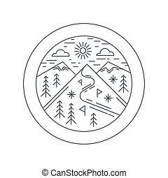 冬天, 山, 屠夫, 滑雪, 矢量, illustration., 概念, outline, design., 胜地