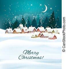 冬天, 村莊, 背景。, vector., 夜晚, 聖誕節